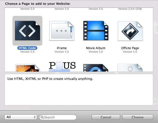 Add a HTML page type to your RapidWeaver project