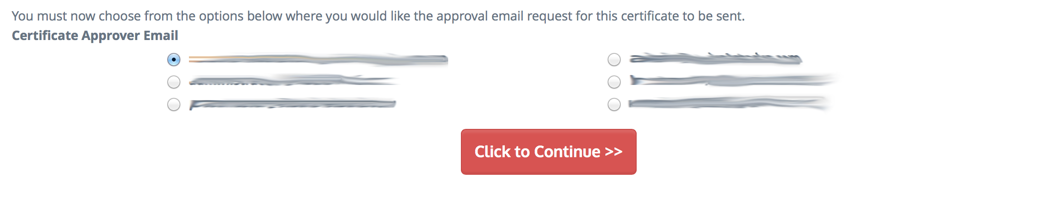 Choosing an admin email to approve the certificate