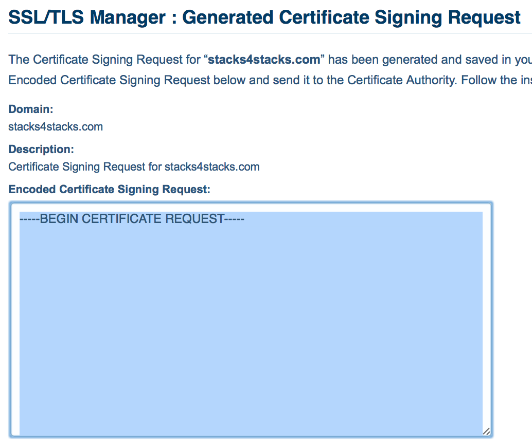 Copying the Certificate Signing Request