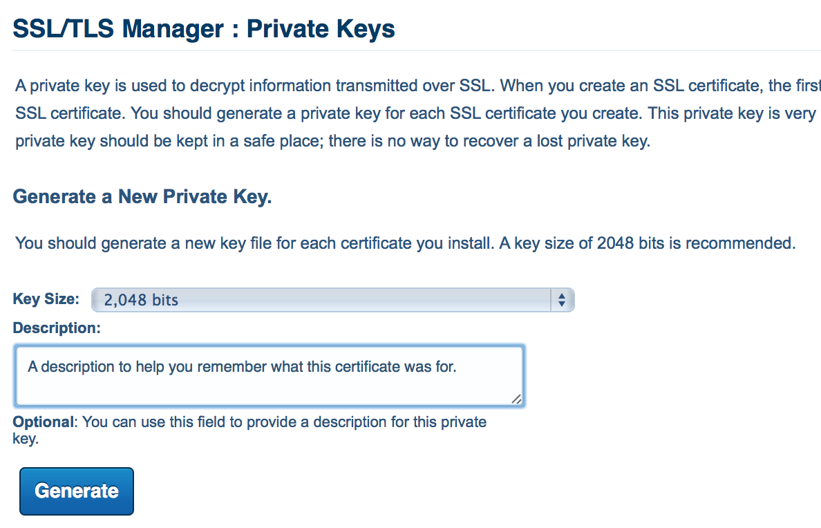 Generate the public and private keys
