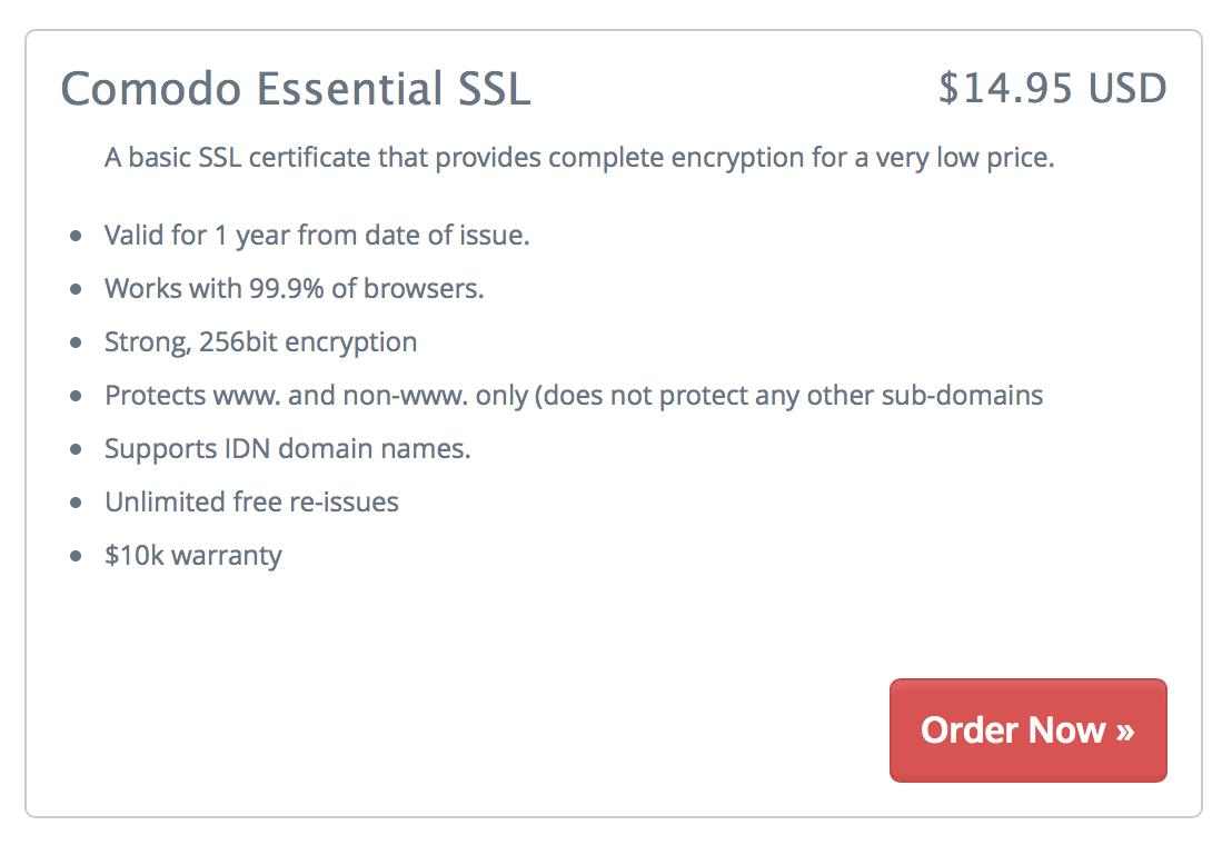Purchasing a standard SSL certificate at Chillidog Hosting