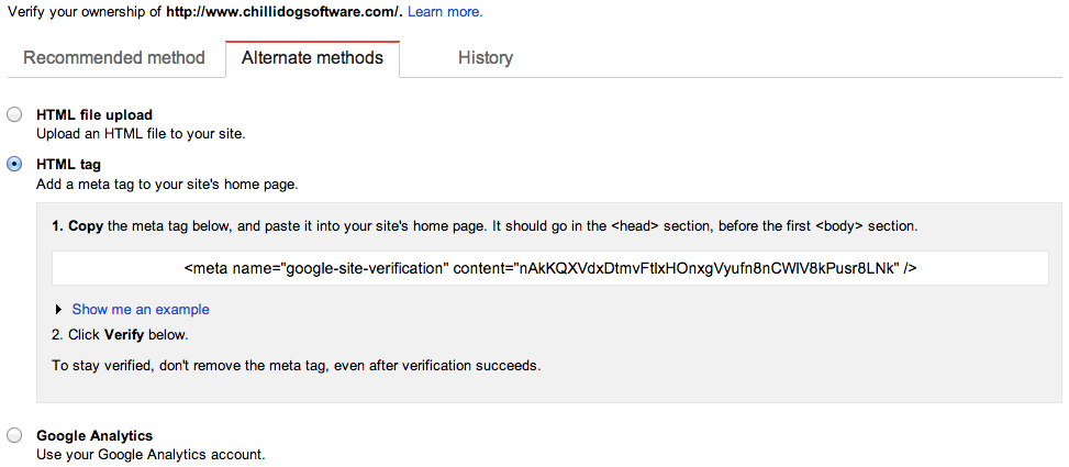 Choose to verify your site using a Meta tag