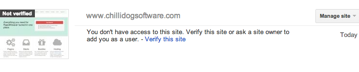 Unverified site in Google Webmaster Tools